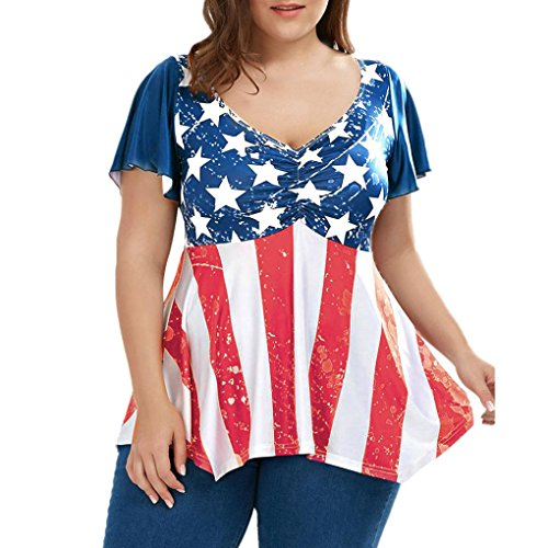 Anxinke Fourth of July Women Plus Size American Flag Printed Ruched V Neck Short Sleeve Tunic T Shirts (2XL) (July Womens V-neck T-shirt)
