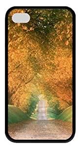 iphone 4 waterproof case Landscapes road Lane TPU Black for Apple iPhone 4/4S