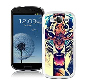 New Best Samsung Galaxy S3 Cover Durable Soft Silicone TPU Tiger Roar Cross Hipster Quote Animal Design White Case