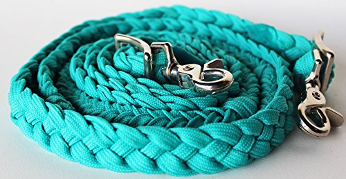 Braided Nylon Tack - PRORIDER Horse Braided Poly Nylon Roping Western Barrel Reins Tack Turquoise 60753