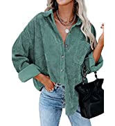 Actloe Womens Corduroy Shirt Long Sleeve Oversized Button Down Blouses Tops Loose Casual Jacket w...