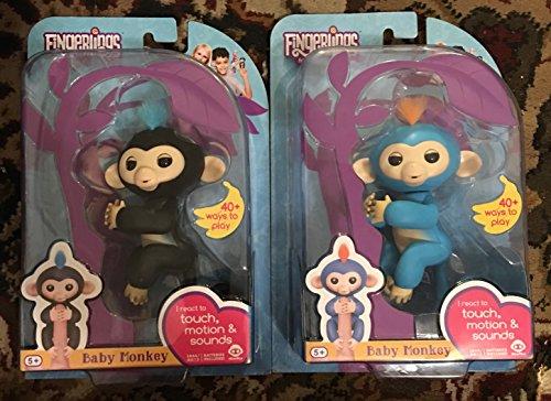Fingerlings - Interactive Baby Monkeys 2 Pack- Finn ( Black with Blue Hair) & Boris ( Blue with Orange Hair)