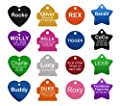 Pet ID Tags - 8 Lines of Engraving Available | Size Small or Large | Bone, Round, Star, Heart, Hydrant, Paw, Cat Face | 9 Colors | Dog Tag, Cat Tag, Personalized, Anodized Aluminum by Providence Engraving