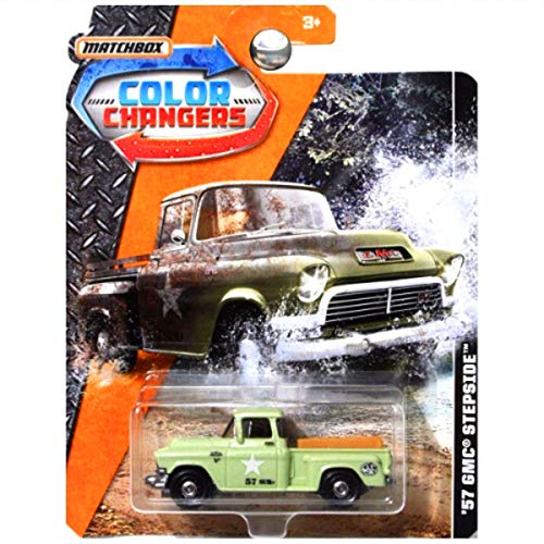 Matchbox 2017 Color Changers 1957 57 GMC Stepside Pickup Truck Army Green