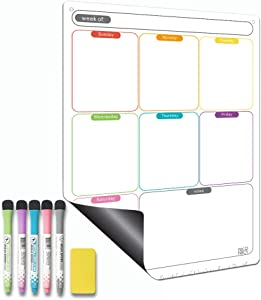 Magnetic Calendar for Refrigerator Set. Weekly Dry Erase Fridge Calendar Whiteboard Meal Planner Menu Board - Thickened Magnet. with Fine Tip Marker & Eraser & Holes for Wall Hanging