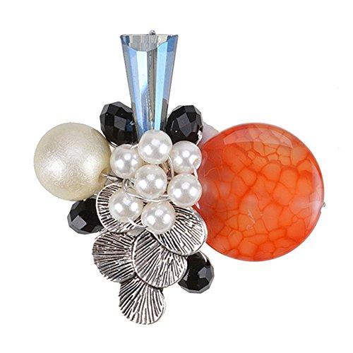 Acrylic Pearl Flower Brooch (Exquisite Shell Pearl Flower Charm Brooch Pin Alloy Banquet Brooch for Women Girls Handmade Jewelry)