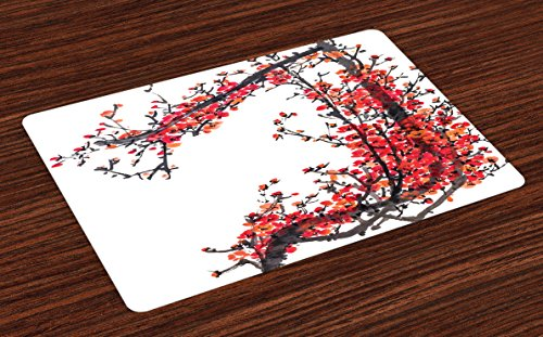 Ambesonne Japanese Place Mats Set of 4, Japanese Cherry Blossom Sakura Branch with Brushstrokes Artistic Image Print, Washable Fabric Placemats for Dining Room Kitchen Table Decor, Red and Brown