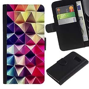 Samsung Galaxy S6 / SM-G920 Modelo colorido cuero carpeta tirón caso cubierta piel Holster Funda protección - 3D Art Purple Pink Checkered Pattern