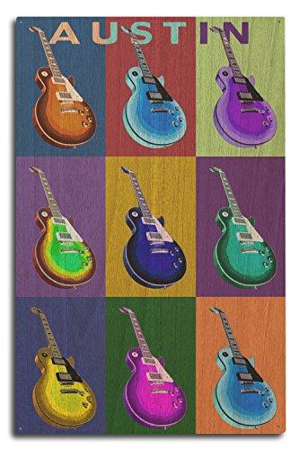 Austin, Texas - Guitar Pop Art (10x15 Wood Wall Sign, Wall Decor Ready to (15w Retro Guitar)