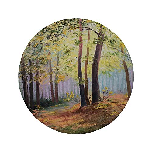Non-Slip Rubber Round Mouse Pad,Country Decor,Image of Spring Landscape in The Forest with Falling Leaves and Various Trees Mod Print,Brown Green,11.8