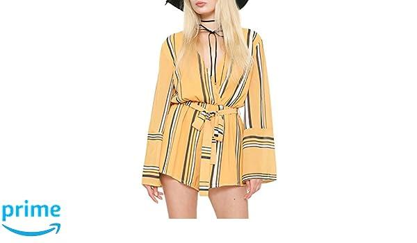 5a3a3ad53e2 Amazon.com  GEEGEEBAE L atiste Women s Striped Long Sleeve Romper ...