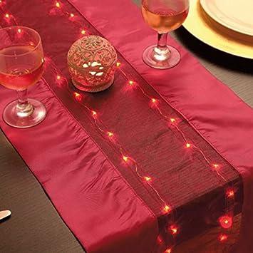 Chemin de table lumineux rouge 140 x 35 cm - LED - organza et satin ...
