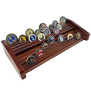 XJmil Challenge Coin Display 8 Rows Military Coin Holder Stand Rack Mahogany Finish by XJmil