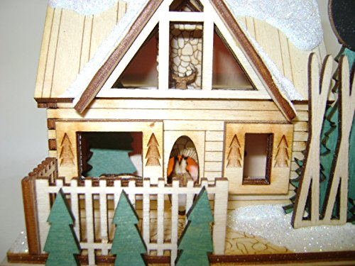 Ginger Cottages - Santa's Ski Lodge GC126, Miniature Collectable building for Christmas and holiday displays. Wood table top display or ornament. Hand crafted in the Richmond Virginia, USA area. by Ginger Cottages (Image #1)