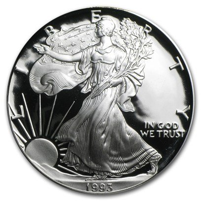 1993 P Proof American Silver Eagle .999 Silver with Velvet Box, Storage Box & COA $1 Proof US Mint ()