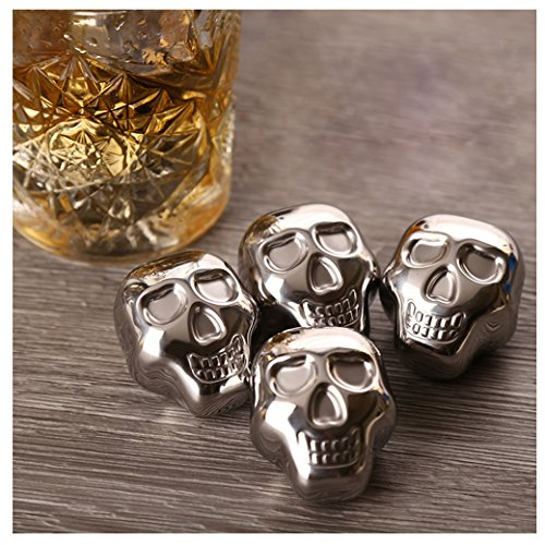 Whiteswallow Reusable Stainless Steel Ice Cube Metal Whiskey Stones for Drinks Skull Shaped Set of 6