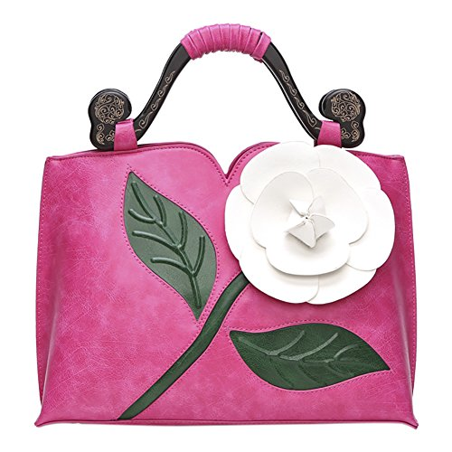 Retro Tote PU Shoulder Red Style Leather Flower Bags Rose Rose Chinese QZUnique Handbag 1 Bags qEwX0E