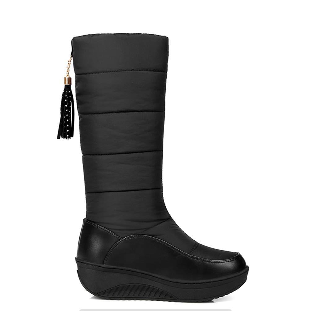 013ab70459149 Amazon.com: DETAWIN Women Mid Calf Boots Winter Warm Slip-On PU ...