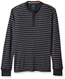 G.H. Bass & Co. Men's Textured Striped Long Sleeve Crew Neck Shirt, Blue Nights, Large