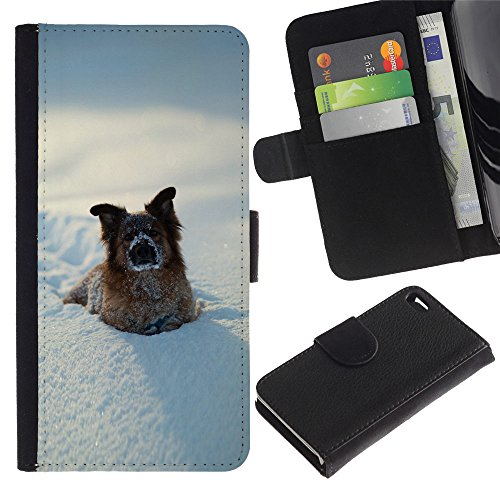 OMEGA Case / Apple Iphone 4 / 4S / Funny Winter Dog In Snow / Cuir PU Portefeuille Coverture Shell Armure Coque Coq Cas Etui Housse Case Cover Wallet Credit Card