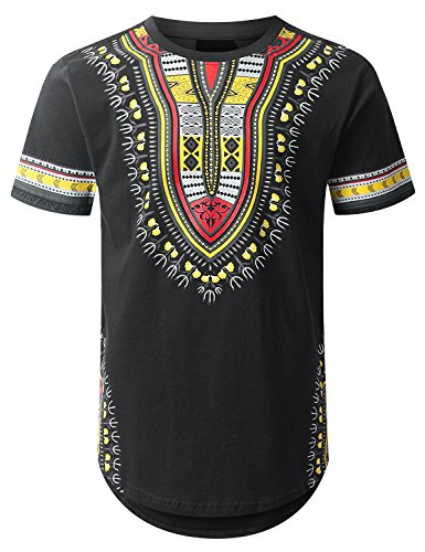 urbancrews Mens Hipster Hip Hop africano Dashiki Graphic parte superior Camisas,  Amts651_black, Mediano