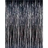 Ifavor123 Decorative Tinsel Foil Metallic Fringe Party Door Window Curtains – 3 Feet Wide X 8 Feet Long (3 Pack, Black)