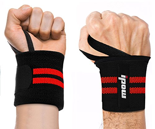 "Ipow Adjustable 18.5"" Weight Lifting Training Wrist Straps Support Braces Wraps Belt Protector for Weightlifting Powerlifting Bodybuilding - For Women and Men,set of 2"