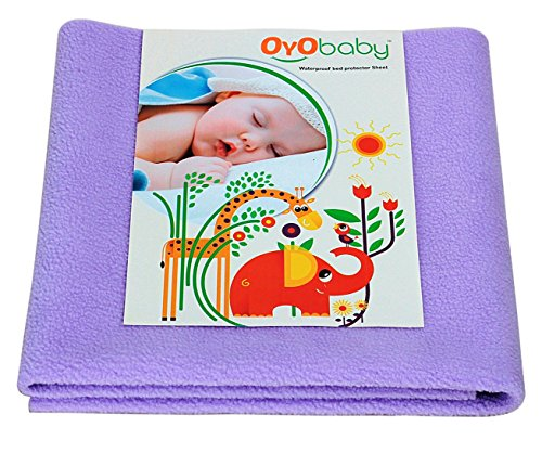 OYO BABY Premium Quality Bed Pad Water Resistant Bed Protector Baby Dry Sheet/Waterproof and Washable Mattress Protector/Crib Sheets/Cot Sheets/Underpad Sheet (Large 140cm X 100 cm) Purple