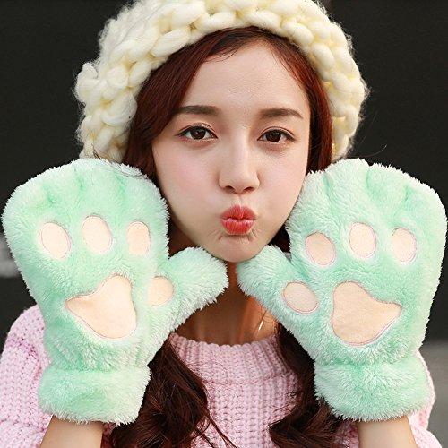 SGFY 冬 レディース 可愛いねこの足 ふわふわ 柔らかい毛 全指 手袋