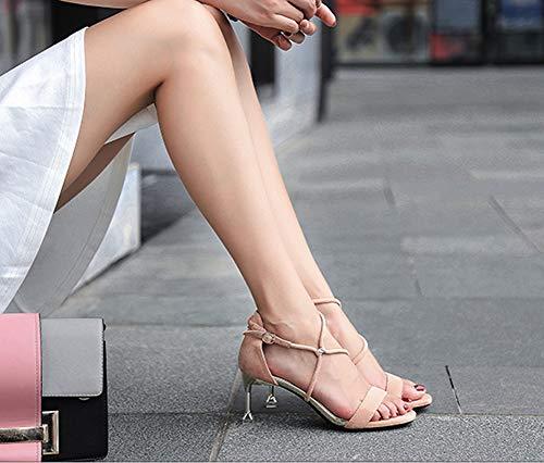 Cheville Hauts Talon Chaton Ouvert Rose Femmes Dames Chaussures Talons Sandales Ruiren Pour Ygpxw