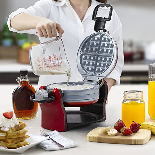 Oster DuraCeramic Titanium Infused Double Flip Waffle Maker, Red CKSTWF20R by Oster (Image #4)