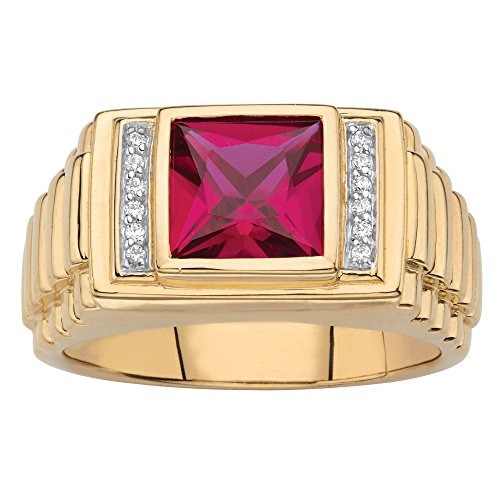 Men's 18K Yellow Gold over Sterling Silver Simulated Red Ruby and Diamond Accent Ring Size 10