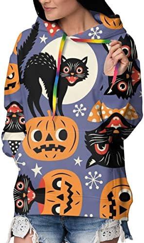 秋服 ガールズ パーカー 長袖,ビンテージの不気味な猫とハロウィーンカボチャのシームレスなベクトル トレーナー