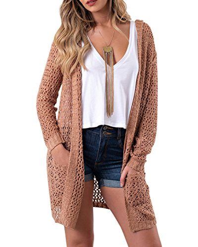FISACE Womens Boho Open Front Stitch Crochet Knit Duster Hooded Cardigan Sweater with Pockets Khaki