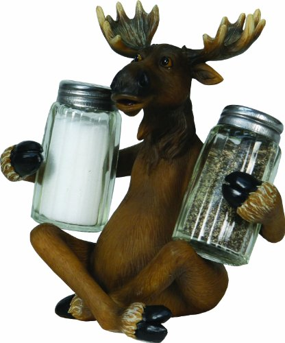 River's Edge Hand Painted Poly Resin  Salt and Pepper Shaker Set (Moose) ()