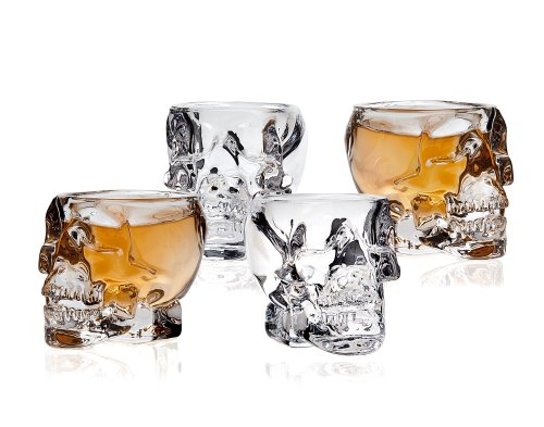 (Klikel Skull Head 3D Clear Crystal 2 Oz. Whiskey Liquor Vodka Shot Glasses Shooters Barware, Set of)