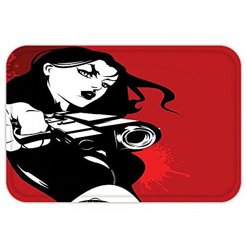 Detective Costume Images (VROSELV Custom Door MatGirlDecor Strong Iconic Warrior Lady Character Holding a Gun Female Detective Weapon Image Print Black Red)