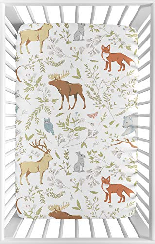 Sweet Jojo Designs Animal Print Baby Boy or Girl Unisex Fitted Mini Portable Crib Sheet for Woodland Toile Collection - for Mini Crib or Pack and Play ONLY