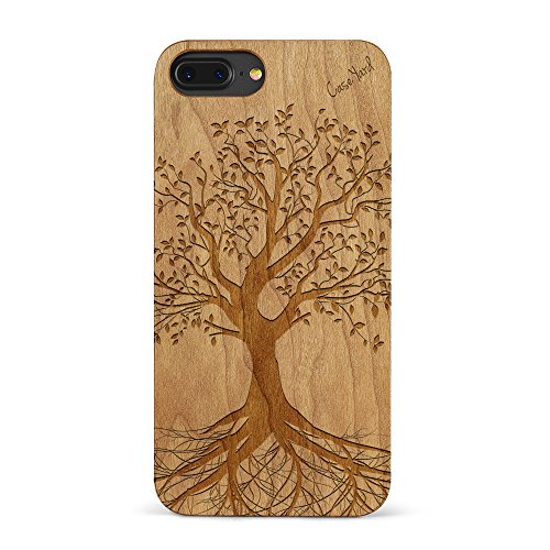 iPhone 8 Plus Case, CaseYard [ Wood Series ] Slim Fit Hybrid Case for iPhone 8 Plus, Lightweight Premium, Made in California, Cherry Tree