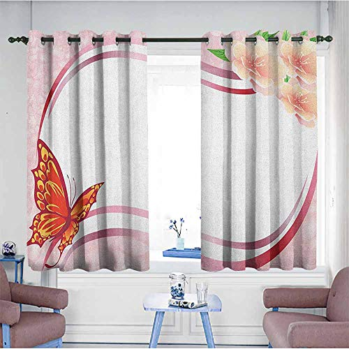 HOMEDD Window Curtain Panel,Butterfly Abstract Design with Floral Ornament and Vibrant Butterfly Wavy Lines Pale Pink,Insulated with Grommet Curtains for Bedroom,W55x63L Multicolor