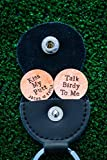 Custom Golf Ball Markers Leather Keyring Case - Personalize Quote, Names - Silver, Brass, Copper Metal - Handstamped 7/8 Inch Discs - Husband Gift - DII QQQ