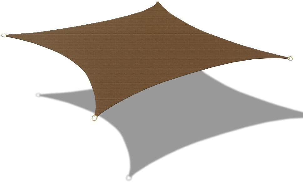 Alion Home Custom Sized Durable Permeable Sun Shade Sail with 6'' Stainless Steel Hardware Kit - Rectangle - Mocha Brown (7' x 10')