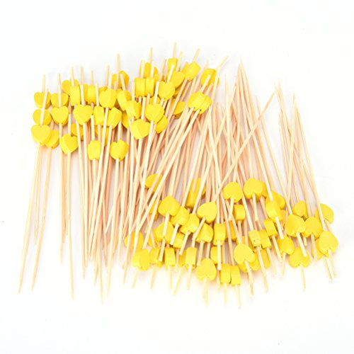 100 Pieces Wooden Cocktail Fork Sticks Wood Heart Pattern Toothpick for Fruit BBQ Wedding Party Supplies Color Yellow By (Yellow Cocktail Fork)