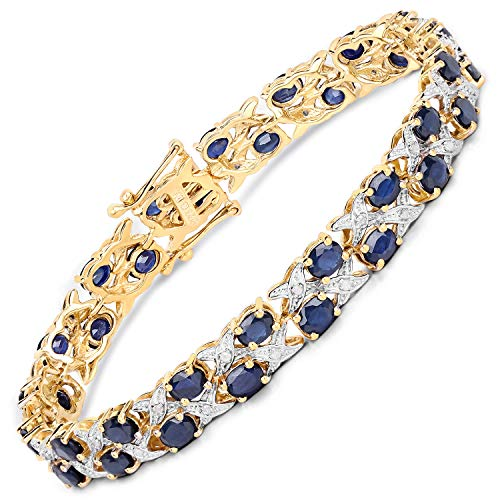 Bonyak Jewelry Genuine Oval Blue Sapphire and Diamond Bracelet in Sterling ()