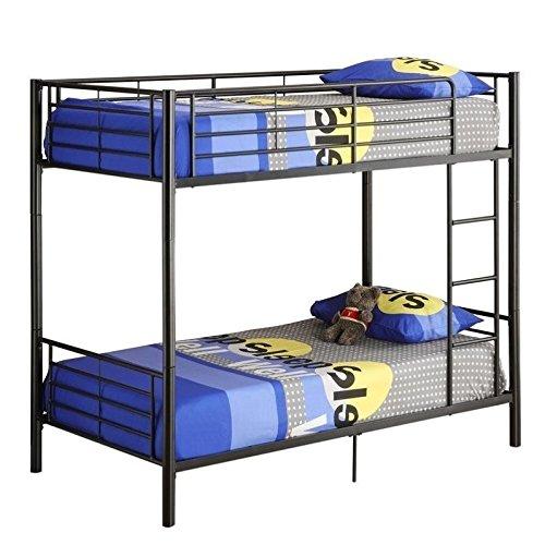 Walker Edison Twin-Over-Twin Metal Bunk Bed, - Bunk Metal Bed Twin