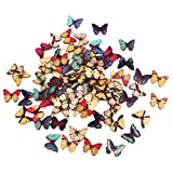 Colored Drawing Colorful Butterfly Wood Buttons for Sewing DIY Craft 100pcs