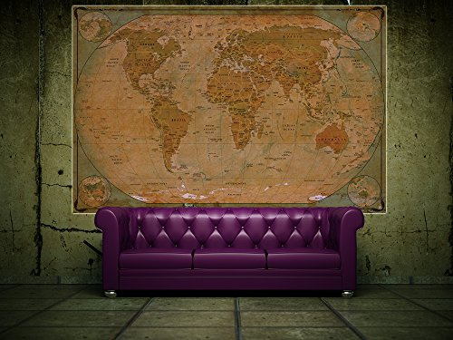 historical world map poster xxl wall picture decoration globe antique vintage world map used. Black Bedroom Furniture Sets. Home Design Ideas