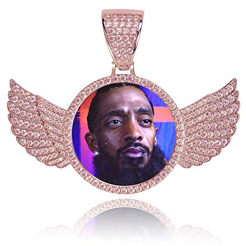 MoCa Jewelry Personalized Custom Photo Medallions Necklace & Pendant 18K Gold Silver Cubic Zircon Hip hop Jewelry Dog Tag Necklace for Men Women, Photo Replaceable (Rose Gold with Wings) Custom Hip Hop Pendants