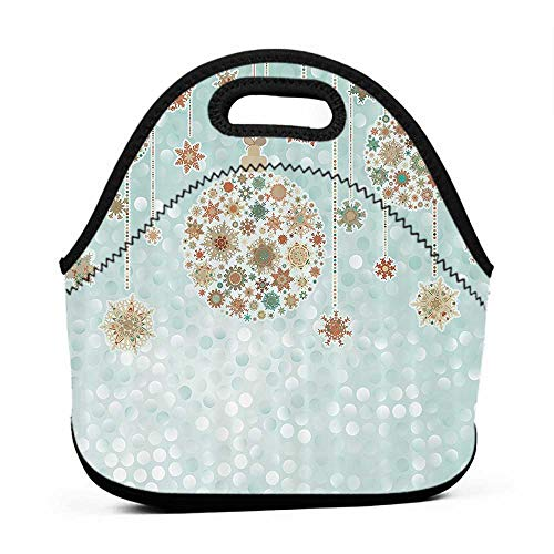 Neoprene Lunch Bag Christmas Decorations Collection,Xmas Balls Vintage Bright Celebration Decor Winter Wonderland Themed Snowflakes,Blue Tan,thermo lunch bag for men