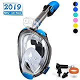 OUSPT Full Face Snorkel Mask, Snorkeling Mask with Detachable Camera Mount, Panoramic 180° View Upgraded Dive Mask with Newest Breathing System, Dry Top Set Anti-Fog Anti-Leak (Blue-2, S/M)